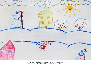 Children's amusing drawing of houses standing on the snowy hills and snowfall. Winter fairy landscape. Childish artwork.