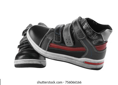 Children's autumn shoes for a boys isolated on white background.