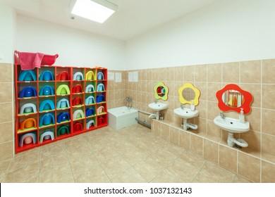Children's bathrooms with individual towels of a kindergarten.