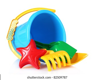 children's beach toys isolated on white
