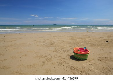 Children's  beach toys  on the sandy beach