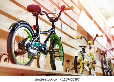 Childrens bicycles in a sports shop