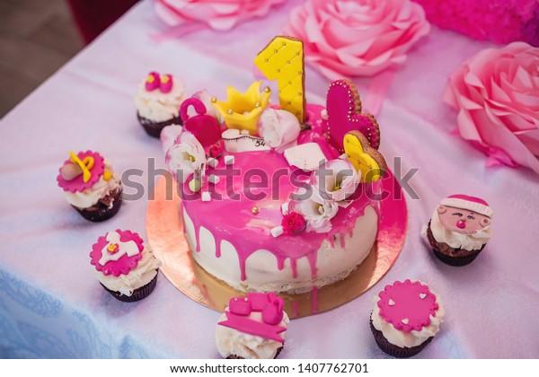 Sensational Childrens Birthday Cake Girl Stockfoto Nu Bewerken 1407762701 Funny Birthday Cards Online Fluifree Goldxyz