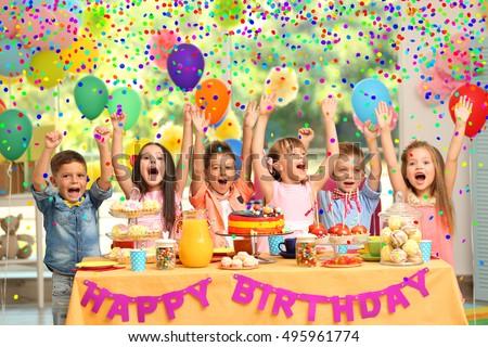 Childrens Birthday Party Decorated Room Stockfoto Jetzt Bearbeiten