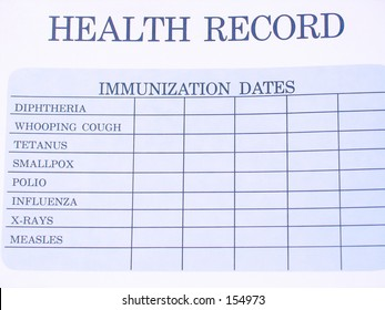 Children's blank vaccination record sheet.