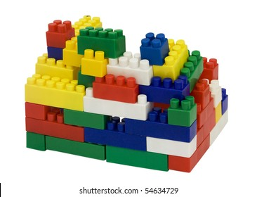 Children's blocks for building on a white background