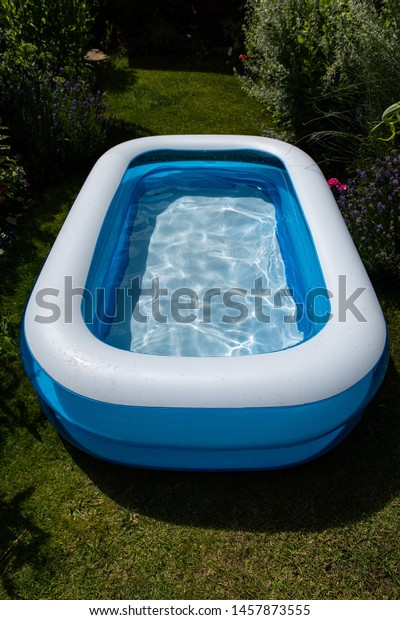 Childrens Blue White Paddling Pool Small Stock Photo Edit Now
