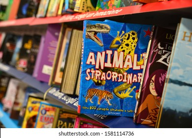 Children's books, foreground, extraordinary animals, curiosities and oddities, children's shop in Campobasso, Italy, November 2019