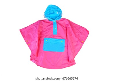 Children's bright fashionable pink jacket for the little girl, windbreaker with hood, buttoned raincoat with pocket isolated on a white background. Walking in the rain