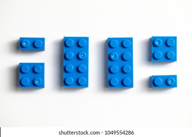 Childrens building blocks similar to legos, blue