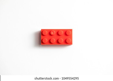 Childrens building blocks similar to legos, red