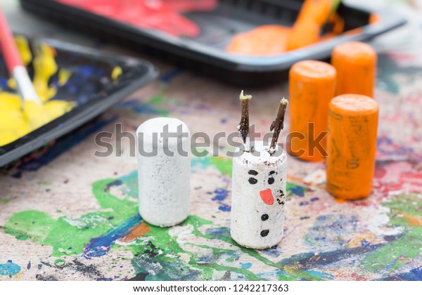 Childrens Christmas Crafts.Childrens Christmas Crafts Recycled Bottle Cork Stock Photo