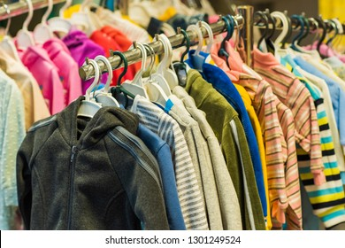 Children's clothing store, sale time, fashion concept for kids and other things