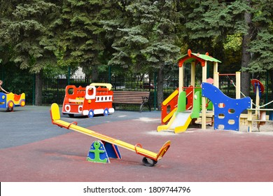 Children's colorful outdoor playground. Facilities for children's games.