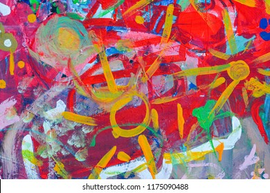 Children's colorful painting drawing on the wall, children's dreams, background texture