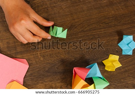 Childrens Creativity Made Paper Origami Crafts Stock Photo Edit Now