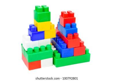 Children's Designer of the bricks. The photo on white background