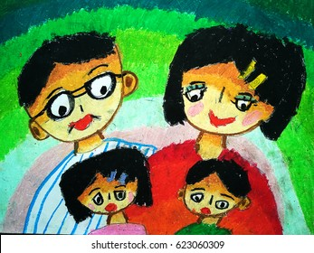 Children's drawing in crayon. My happy family