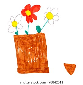 children's drawing. flowers