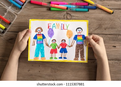 Children's drawing of LGBT family two dads and two sons. Homosexual family concept.