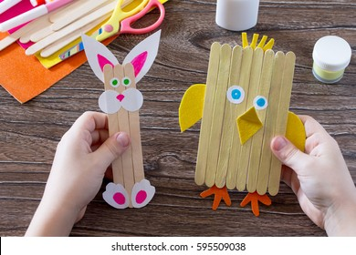 Hobby craft sticks images stock photos vectors shutterstock childrens easter gift from wooden chopsticks toy chicken and easter bunny hand made negle Images