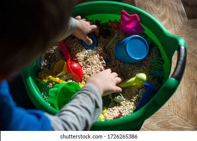 children's game, sensory development of the child, small toys and grain in the basin, development of an autistic child, play at home, self-isolation,