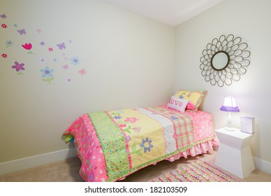 Children's girl's pink princess bedroom playroom. Interior design.