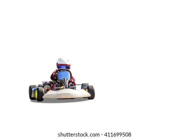 children's go-kart driving on a white background