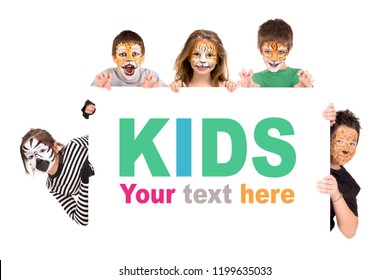 Children's group with animal face-paint over a white board