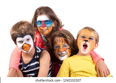 Children's group and grandmother all with animal face-paint isolated in white