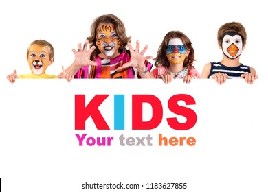 Children's group with grandmother in animal face-paint over a white board