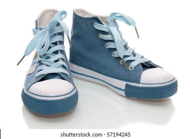 Children's gym shoes, on a white background, it is isolated.