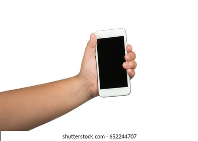 children's hand hold cell phone isolated on white background