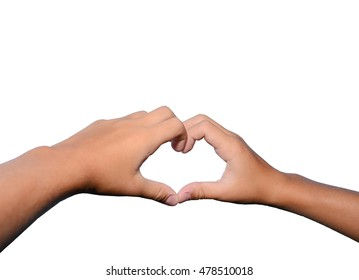 Children's hand keeps fingers in to the heart shape isolated on white background.