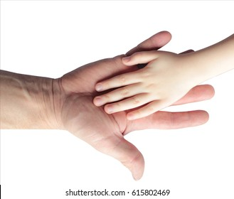 Children's hand in a man's palm isolated on white background