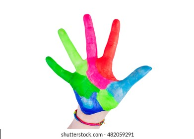 Children's hand painted with colorful paint on a white background