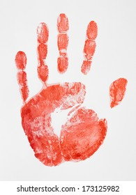 Children's Hand Print with Red Paint on Paper