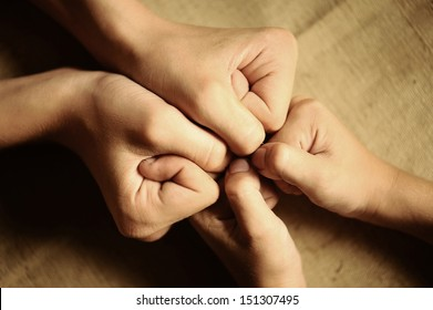 children's hands. agreed to team