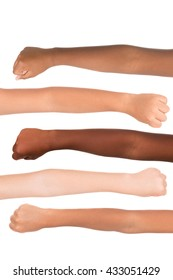 Children's hands from different colors and races together isolated in white