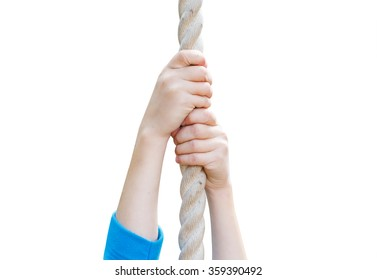 children's hands holding the rope. child hands clinging to the rope, closeup, isolated on a white background
