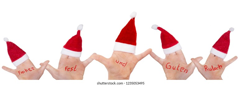 """Children's hands with Santa hats wish """"Merry Christmas and Happy New Year"""""""