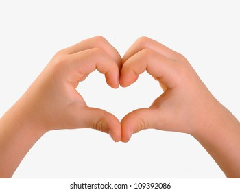 Children's hands in the shape of heart, isolated on white