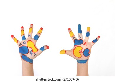 children's hands with the sketch in different colors - geometrical shapes - school motives - smiley