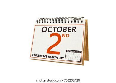 Children's Health Day October 2 Calendar Date white background