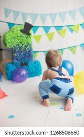 children's holiday. first birthday. a year. balloons. baby's crawling. the child's back