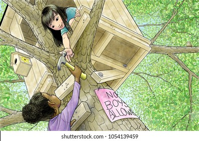 A children's illustration of twp girls working on a tree house.