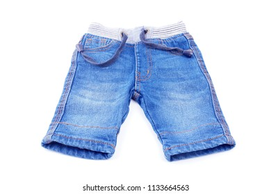 Children's jeans pants. Isolated on white background
