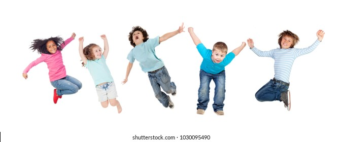 Childrens jumping toguether isolated on a white background
