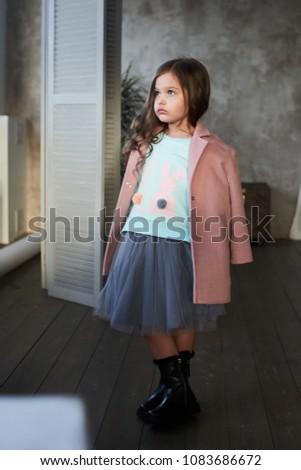 Childrens Lookbook Stylish Girl Pink Coat Stock Photo (Edit Now ... 841a1fc2d