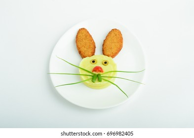 Children's meal rabbit of mashed potato and fish cutlets